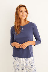 Womensecret Camiseta panadera azul manga larga detalle encaje azul