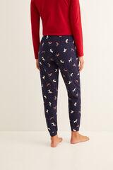 Womensecret Pantalón largo de pijama estampado navidad navy azul