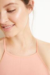 Womensecret Top halter sin costuras naranja canalé rosa