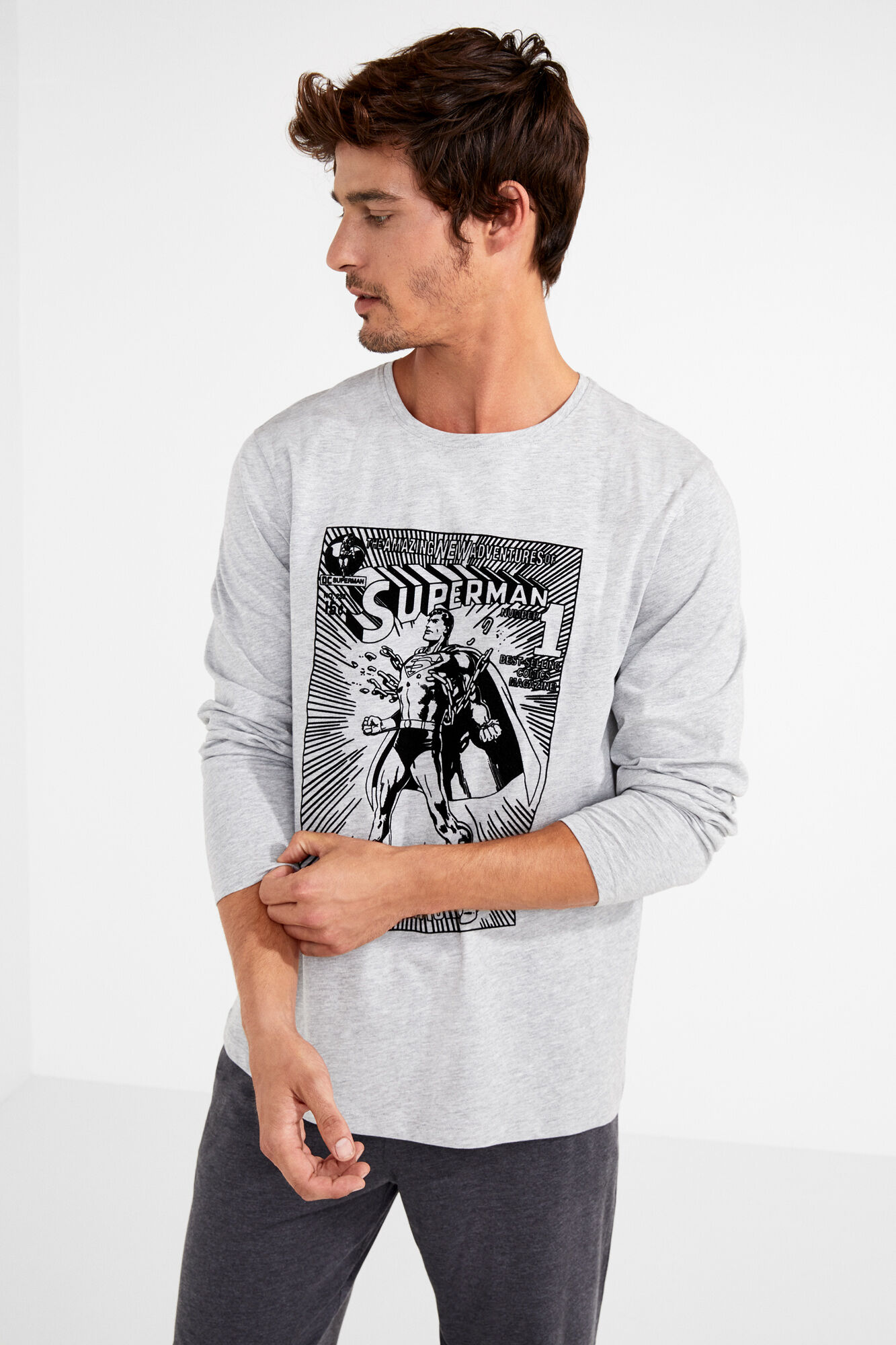 Pijama Hombre Algodón Para Superman Largo qR5AL34j