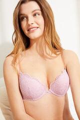 Womensecret GORGEOUS Soutien push-up algodão e renda rosa rosa