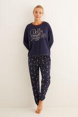 Womensecret Pijama comprido algodão Dobby azul azul