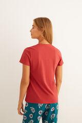 Womensecret Camiseta panadera granate manga corta algodón estampado