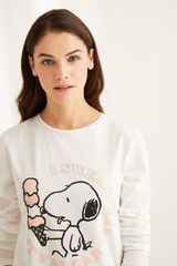 Womensecret Pijama manga larga Snoopy blanco