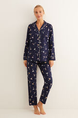 Womensecret Pijama largo camisero estampado cocktail estampado