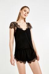Womensecret Pijama curto cetim renda preto