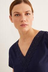 Womensecret Camiseta detalle cuello azul