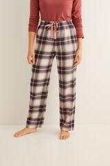 Womensecret Calças compridas de pijama estampado xadrez cinzento impressão