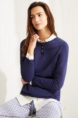 Womensecret Camiseta manga larga algodón azul azul