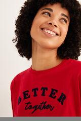 Womensecret Camiseta manga larga Better Together roja burdeos
