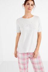 Womensecret Camiseta manga corta mensaje gris