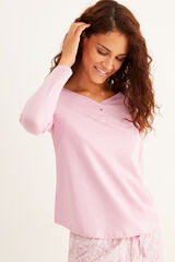 Womensecret Camiseta panadera rosa manga larga algodón rosa