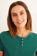 Womensecret Camiseta panadera corta verde verde