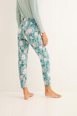 Womensecret Calças compridas de pijama estampadas verdes verde