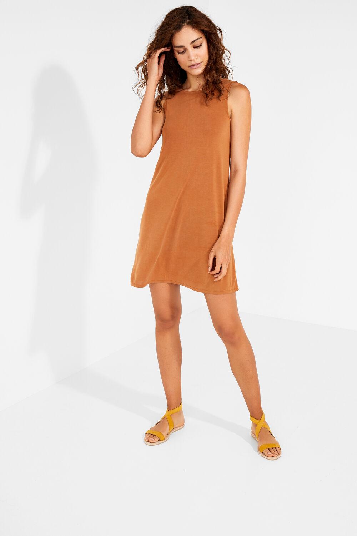 c8ca16f63 Womensecret Vestido midi liso marrón. Comprar
