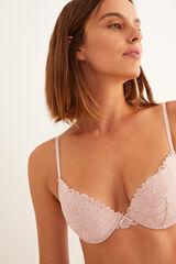 Womensecret Sujetador push up encaje y microfibra rosa rosa