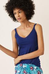 Womensecret Camiseta tirantes lisa azul