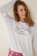 "Womensecret T-shirt manga comprida ""Powered by plants"" cinzento"