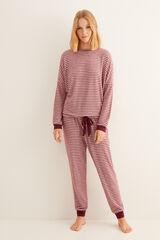 Womensecret Pijama largo invierno rayas granate marrón