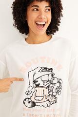 Womensecret Pijama largo polar Garfield blanco