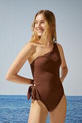Womensecret Bañador moldeador asimétrico marrón nude
