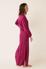 Womensecret Vestido largo satén y bordado rosa