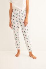 Womensecret Pantalón largo de pijama estampado blanco gris