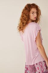 Womensecret Camiseta con lino manga corta rosa