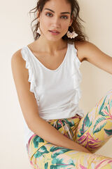 Womensecret Camiseta tirantes detalle volante beige
