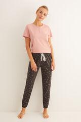 Womensecret Pantalón largo de pijama estampado lunas gris