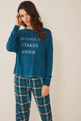 "Womensecret Pijama comprido ""single, taken, dogs"" verde"