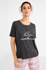 Womensecret Camiseta con mensaje gris