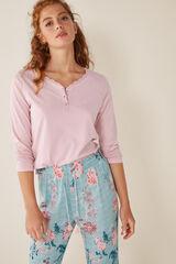 Womensecret Camiseta manga larga lisa algodón rosa