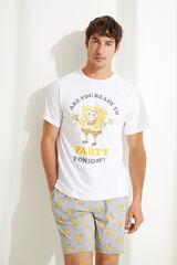 Womensecret Pijama corto de manga corta estampado Bob Esponja blanco