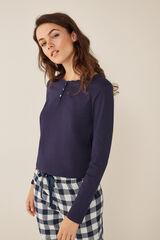 Womensecret Camiseta lisa manga larga azul