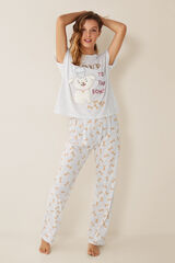 "Womensecret Pijama comprido ""Love to the bones"" cinzento"