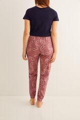 Womensecret Pantalón largo de pijama estampado pasley rosa