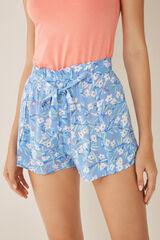 Womensecret Pantalón corto estampado flores azul