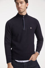 Conjunto jersey cremallera, camisa y pantalón denim Milano