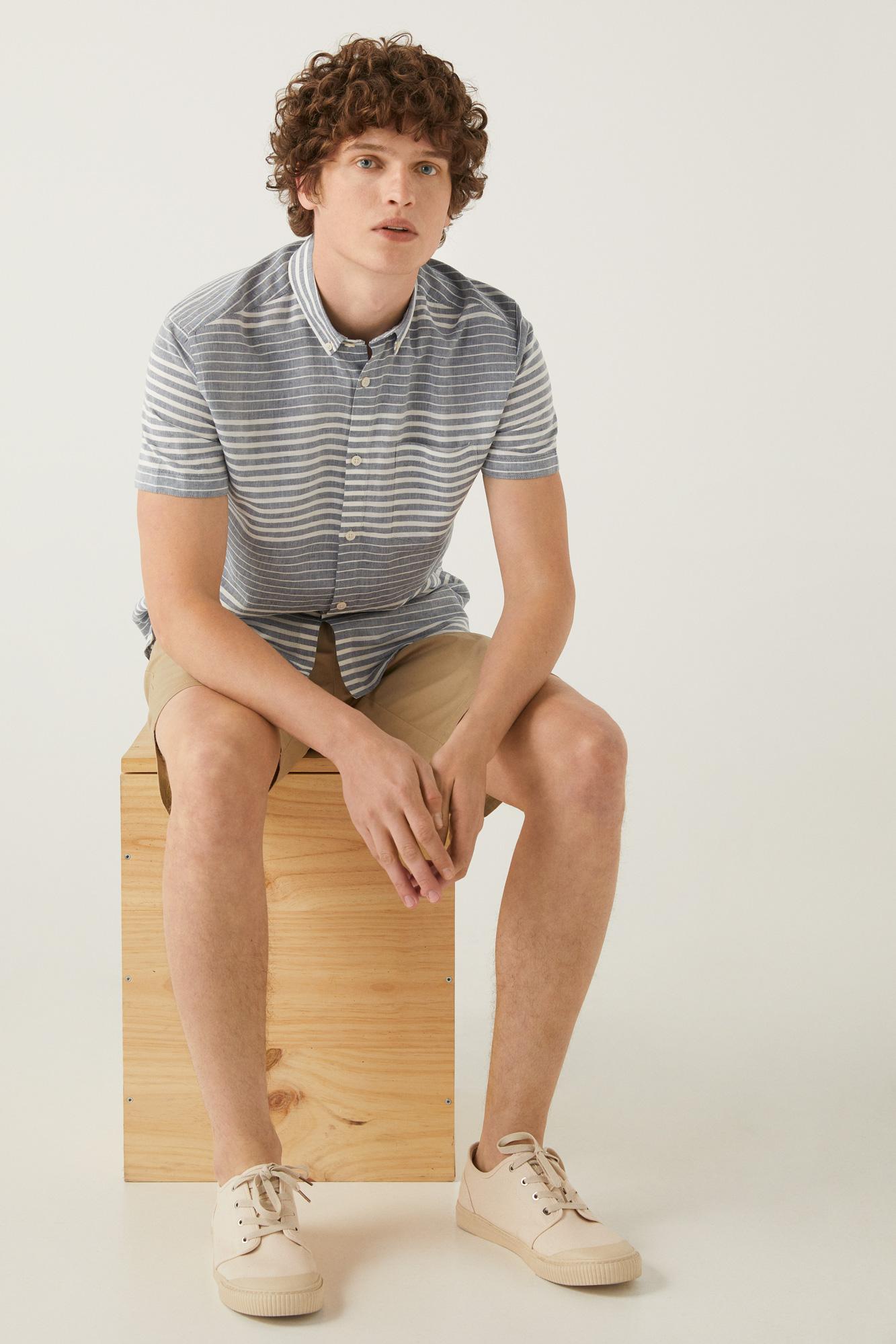 Camisa manga corta lino rayas horizontales