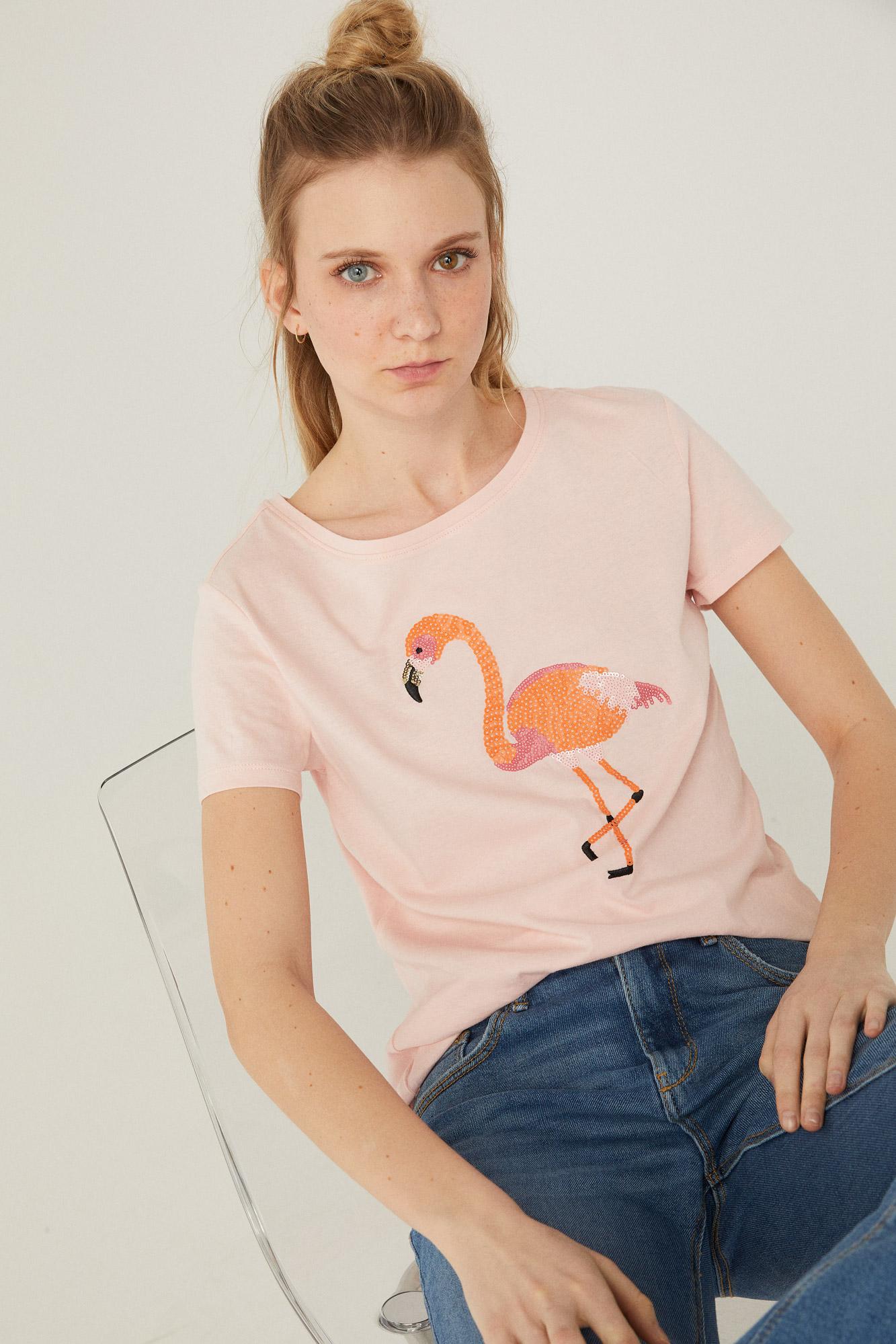 Camiseta estampado gráfico lentejuelas