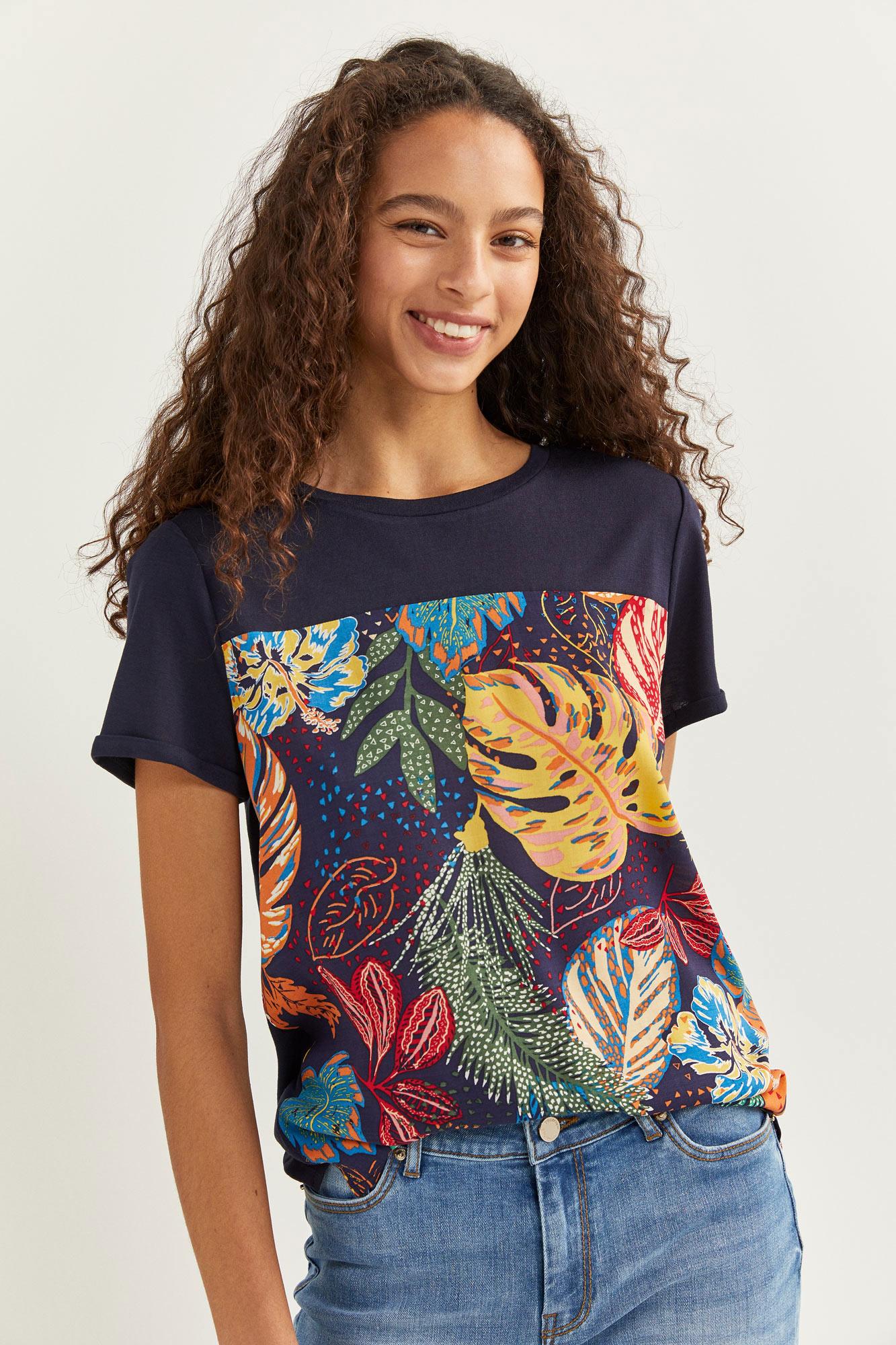 Camiseta Bimateria Estampado Tropical