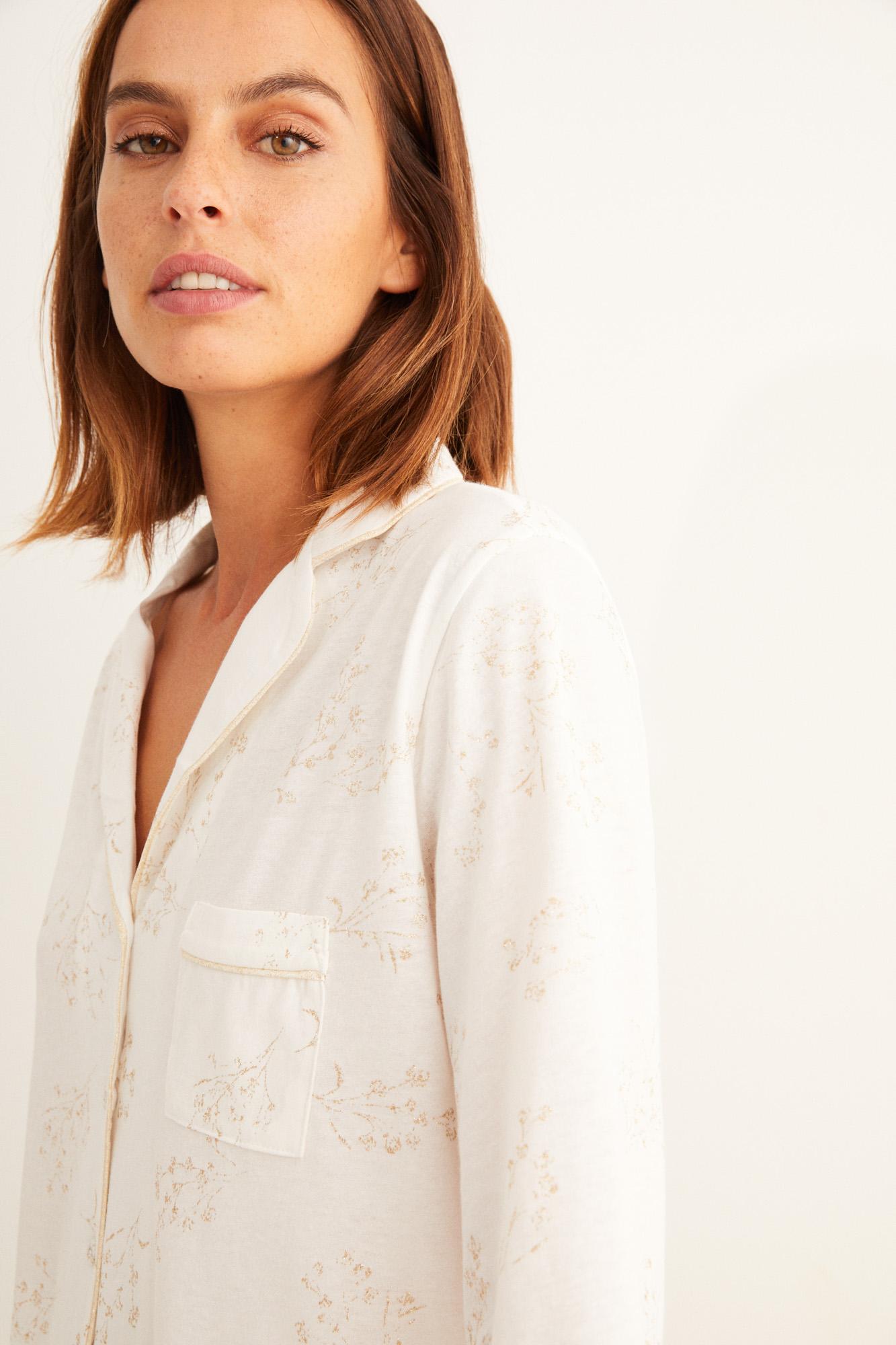 Pijama camisero manga larga flores Capri