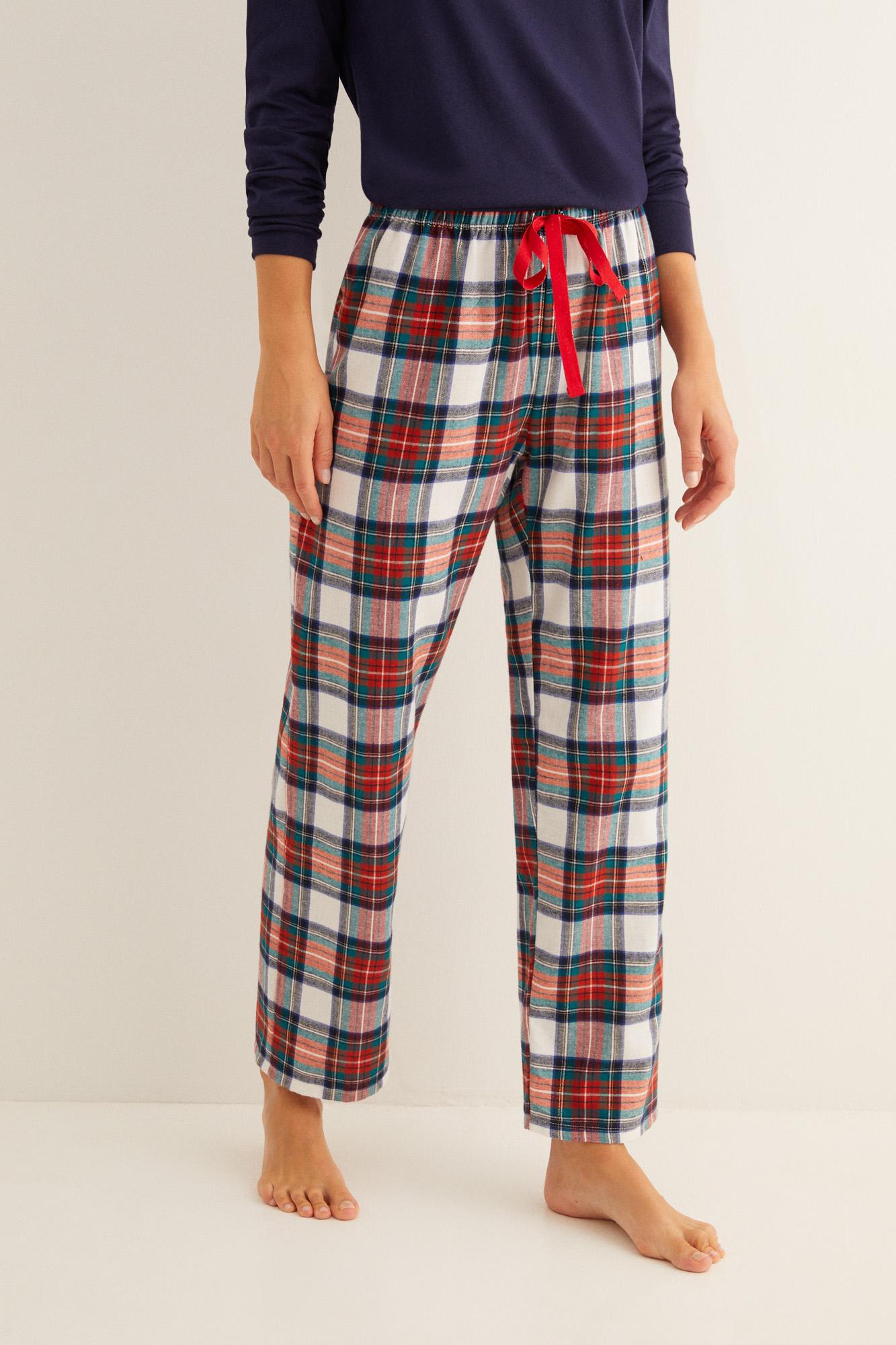 Pantalón largo de pijama estampado cuadros crudo