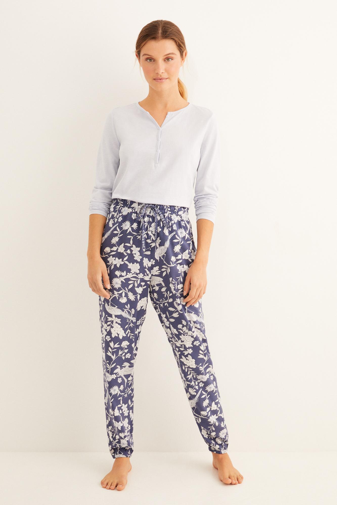 Pantalón largo de pijama estampado azul navy