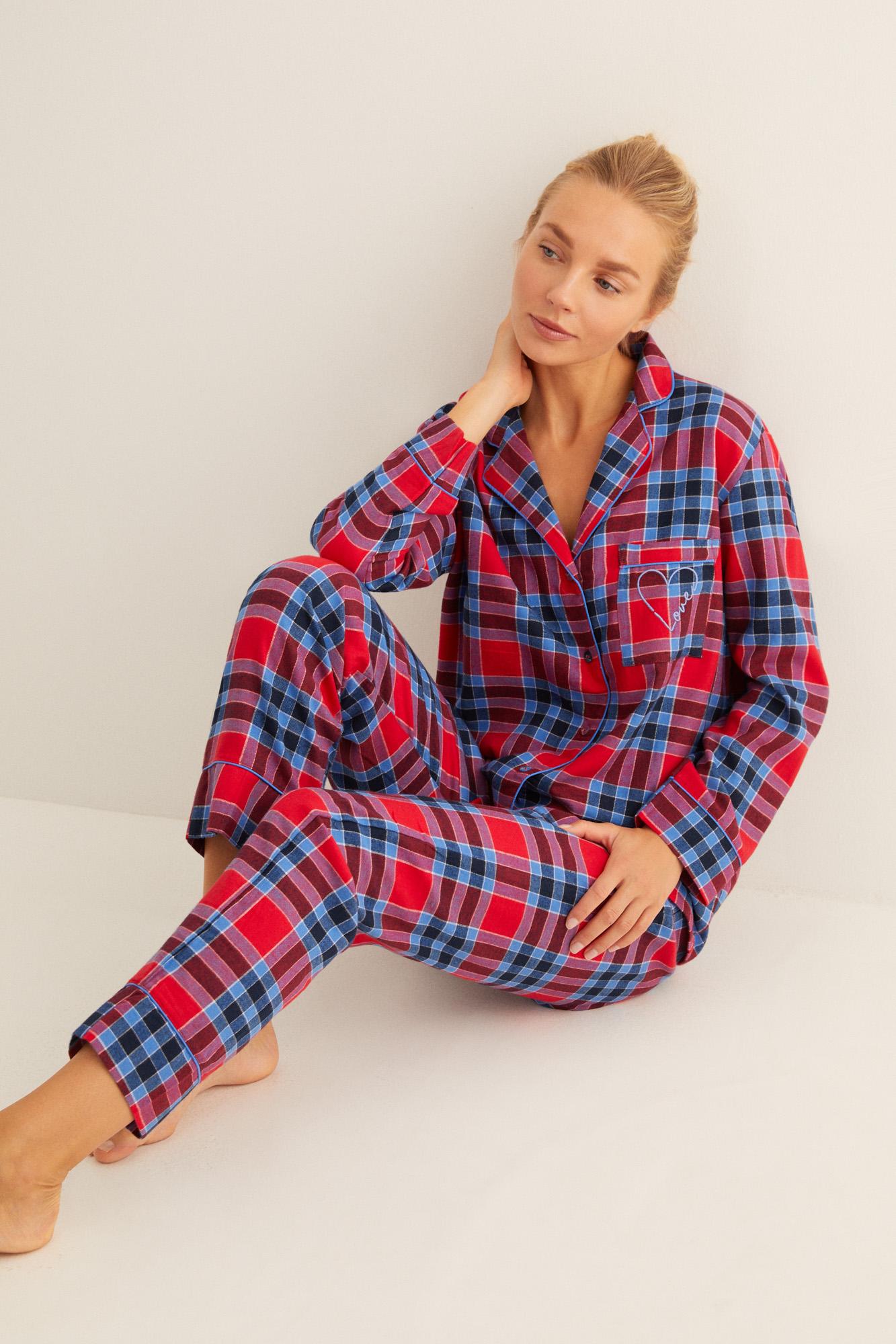 Pijama largo camisero franela cuadros