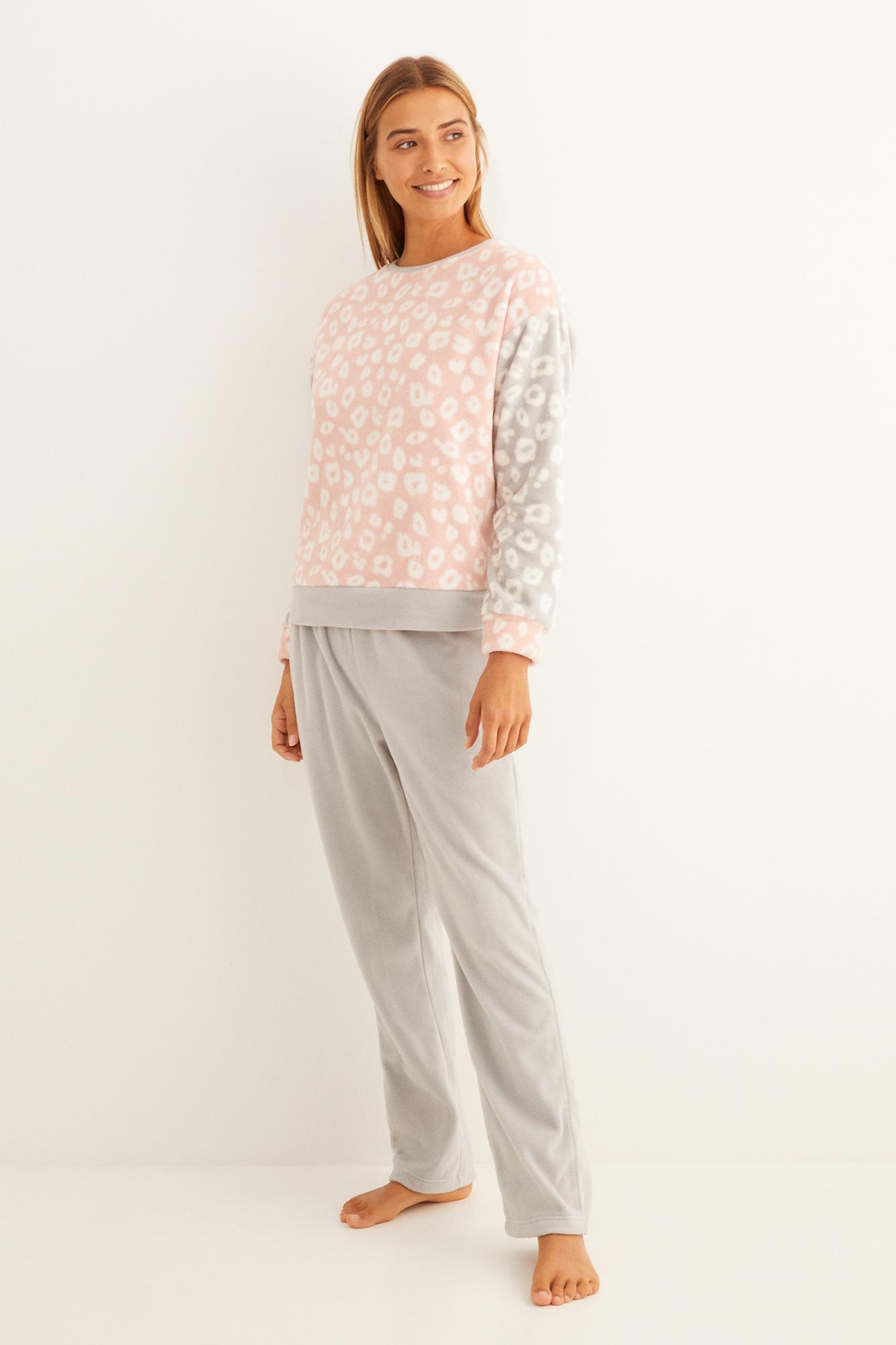 Pijama largo animal print bicolor