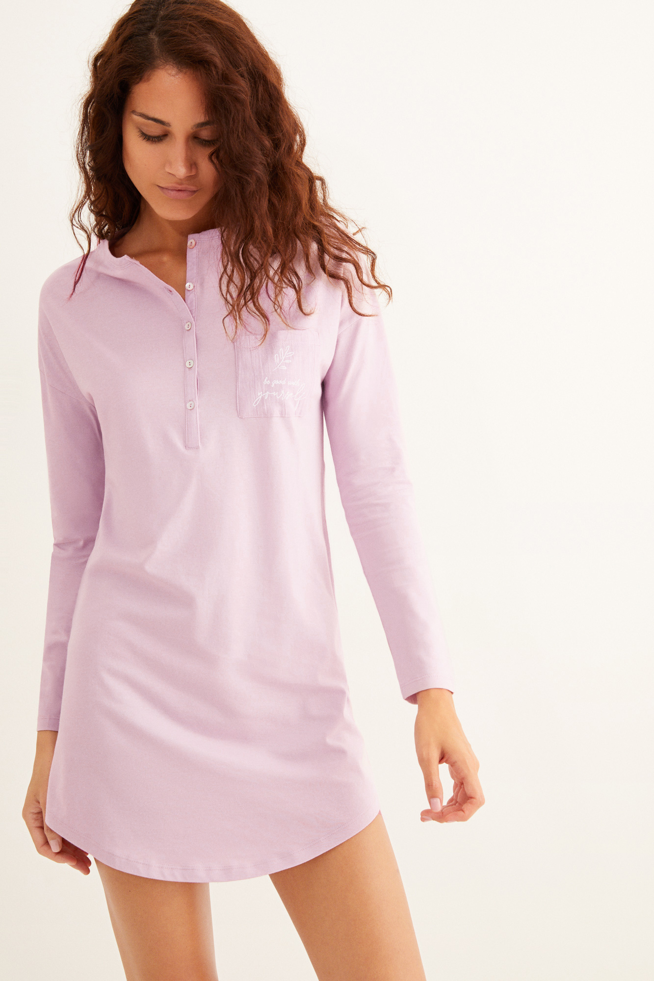 Camisón corto rosa algodón orgánico