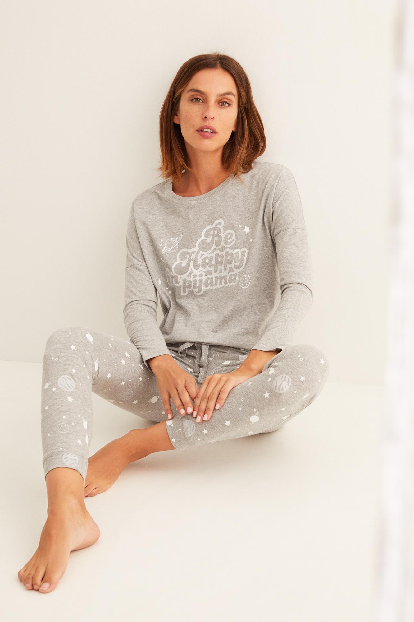 Pijama largo gris algodón La Vecina Rubia