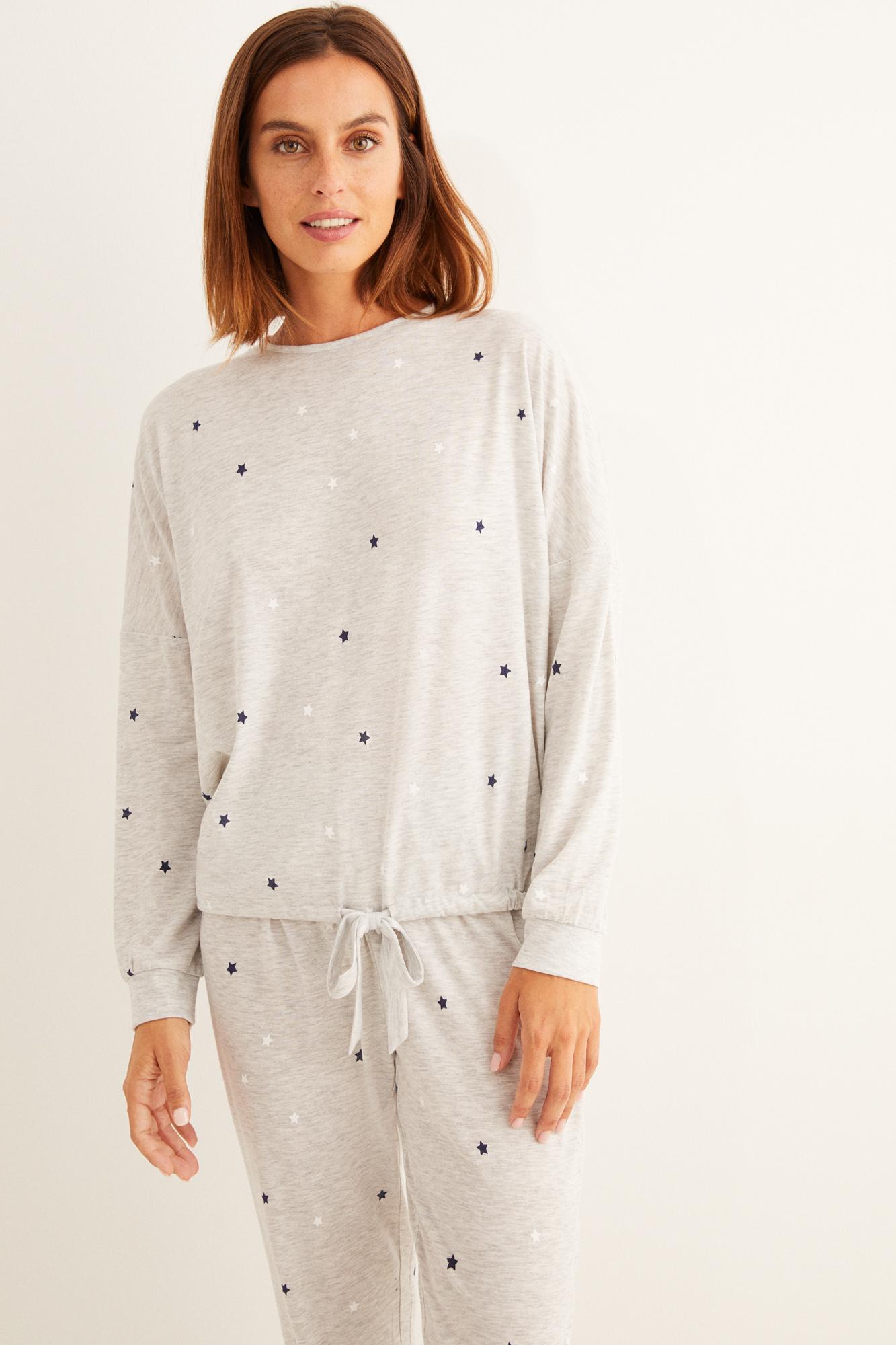 Pijama largo invierno estrellas gris